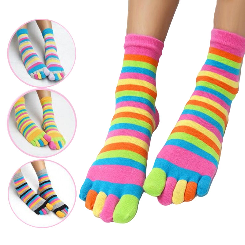 2017 Funny Rainbow Women Socks With Five Separate Toes Meia Colorida Novidade Cute Women Cotton Sock Lot Striped Art 5 Pairs