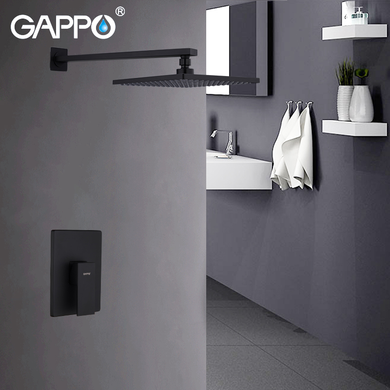 GAPPO Shower Faucets Bath Wall Mounted Bathroom Shower Mixer Basin Faucet Waterfall Water Tap Shower Bath Taps Black Shower SetGAPPO Shower Faucets Bath Wall Mounted Bathroom Shower Mixer Basin Faucet Waterfall Water Tap Shower Bath Taps Black Shower Set