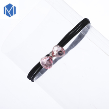 1PC Korean Style Pink Crystal Bowknot Elastic Hair Bands For Children Girls Sweet Hair Tie Rhinstone Rubber Bands Cute Hair Rope sweet style flared sleeves shirt with self tie bowknot