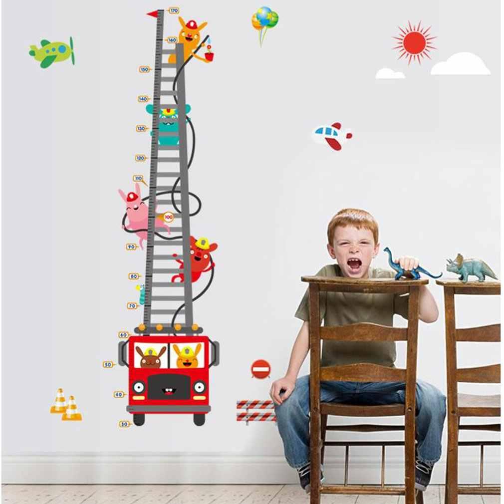 Пожарная машина пожарный наклейки для измерения роста наклейки на стену детская спальня фон декоративная бумага фрески