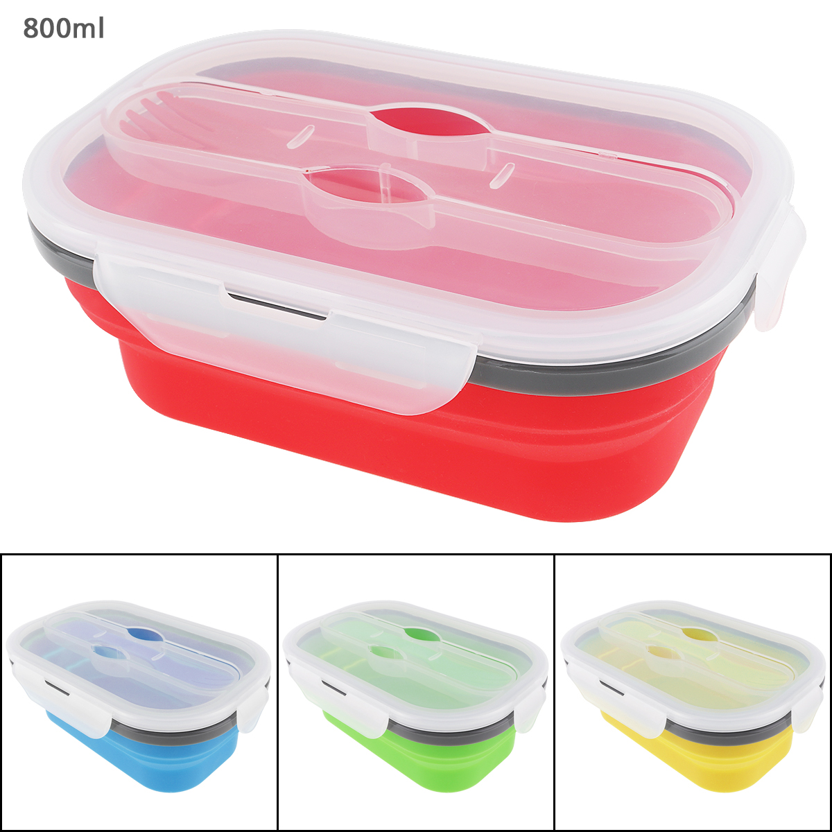 4 Colors 800ML Silicone Scalable Folding Lunchbox Bento Box with Thickening Card Buckle and Three Purpose Tableware4 Colors 800ML Silicone Scalable Folding Lunchbox Bento Box with Thickening Card Buckle and Three Purpose Tableware