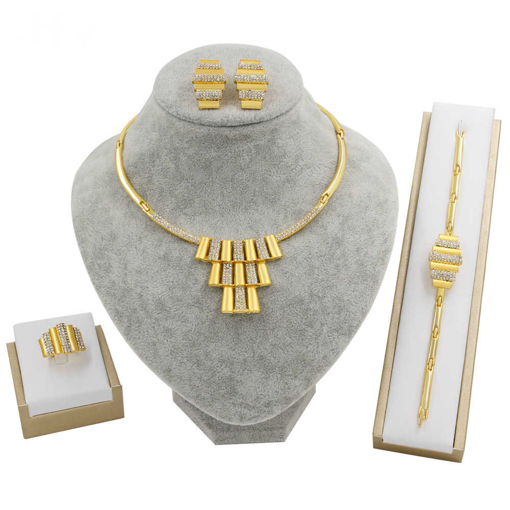 Neue Dubai Gold Schmuck Sets für Frauen Braut Schmuck Set Hohe Qualität Kristall Halskette Ohrringe Mode Indische Hochzeit Schmuck