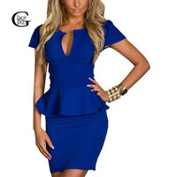 Plus Size 2016 New Womens Elegant Sexy V Neck Sheath Dress Ruffles Spliced Slim Dress Tunic