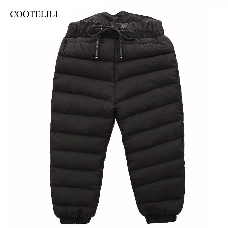 COOTELILI 80% Down Winter Pants For Baby Boys Girls High Waist Warm Children Clothes Waterproof Kids Boy Trousers Pants Long sosocoer boys jeans kids clothes winter thick warm boy cowboy pants high quality girls trousers fashion casual children costume