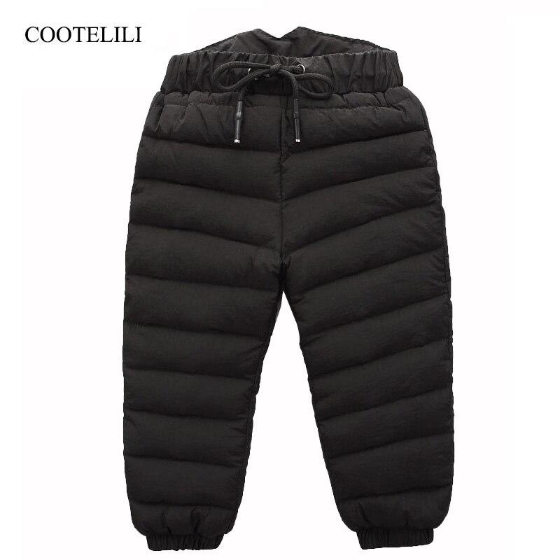 COOTELILI 80% invierno abajo pantalones para los bebés niñas de alta cintura caliente niños ropa impermeable niños Niño Pantalones largos