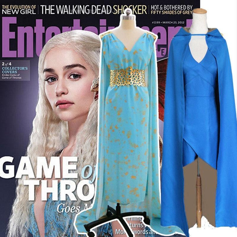 Game of Thrones Cosplay Daenerys Targaryen Wedding Dress Costume Halloween party long Blue Dress Sexy Blue Dress & Cloak Wig halloween game of thrones daenerys targaryen qarth dress party cosplay costume and wig