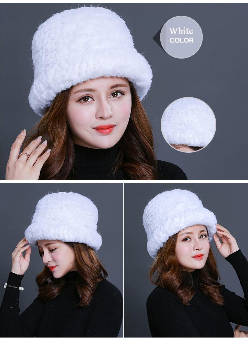 Luxury Natural Fur hats Fur Bucket Hat Russian Real Rex Rabbit Fur Hat Female Solid Women\`s Winter Cap Ladies (10)