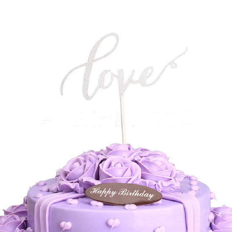 cake toppers gliter golden slivery love cards banner for fruit Cupcake Wrapper Baking Cup birthday tea party wedding decor Wh