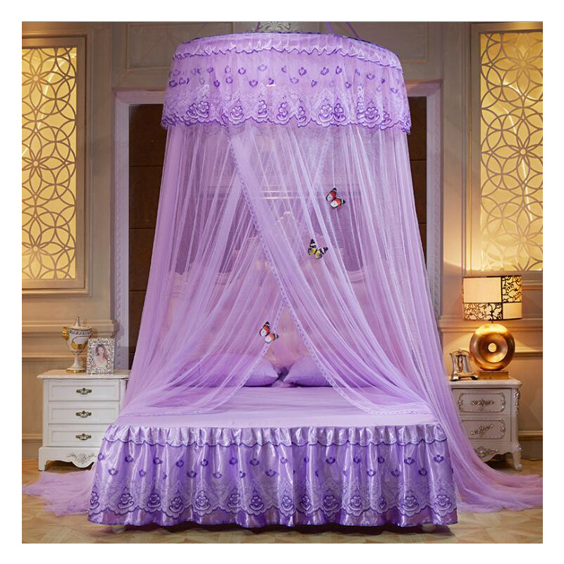 Summer princess ceiling Mosquito net Hanging Round Lace Canopy Bed Netting Comfy hung Dome Mosquito Net Crib Twin Full Queen Bed