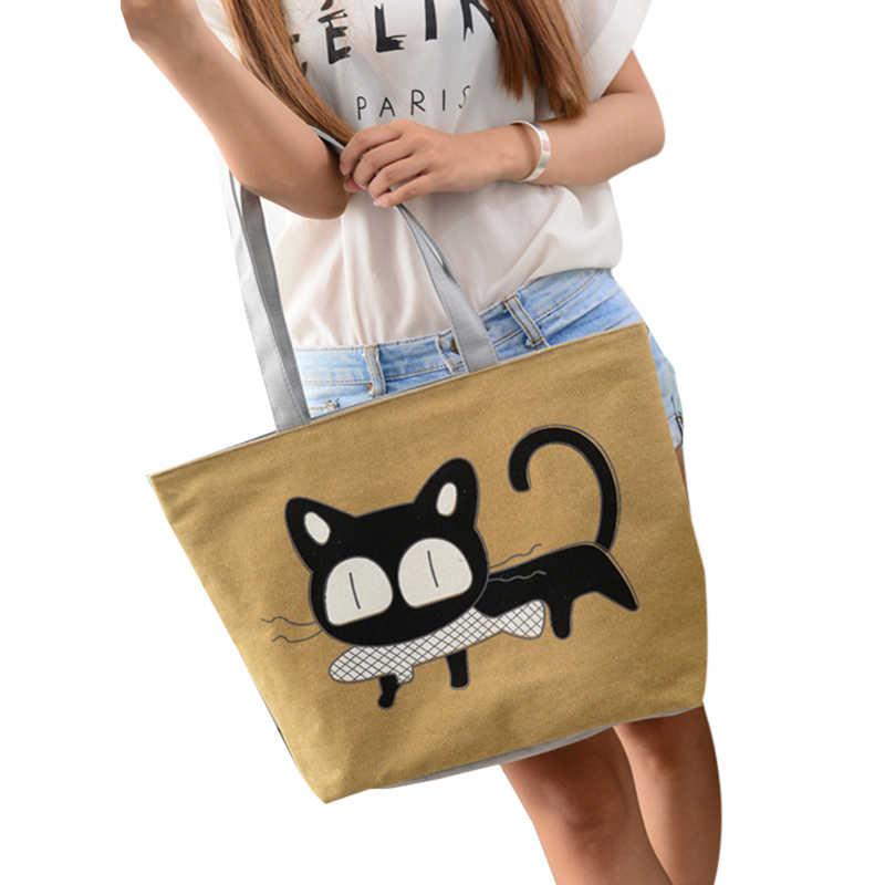 ad5f416ad Especial de dibujos animados gato peces lienzo bolso floral bolsa de la  escuela para las niñas