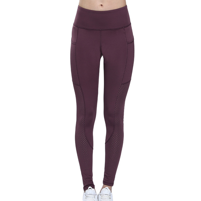 Gym Leggings with Pocket Colorvalue Breathable Mesh Running Jogger Tights Women Stretchy Sport Fitness Pants Reflective Yoga 2
