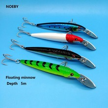 NOEBY 1PCS/LOT  Metal Tongue fishing lure 32.5g/13cm 4colors floating minnow hard lure depth 5m 3D eyes sea fishing lure цена