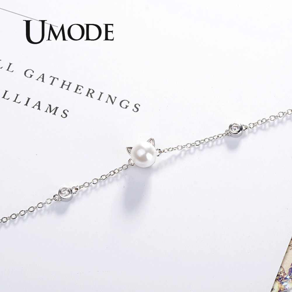 UMODE Brand Korean Cute Cat Ear Pearl Adjustable Rings Chain Bracelets Jewelry Sets for Kids Girls oorbellen knopjes US0051