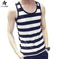 2017 Summer Striped Mens Tank Tops Shirt Fashion Round Neck Sleeveless Casual Soft Elasticity Homme Top Brand Clothing LW443
