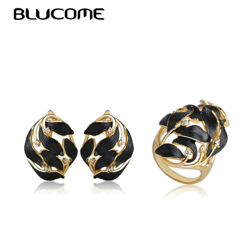 Blucome Fashion Black Enamel D Hooks Stud Earrings Ring Set Women Lady Gold Color Copper Jewelry Sets For Party Gift Accessories blucome vintage water drop green crystal jewelry sets for women party accessories turkish bronze color bangle ring earrings set