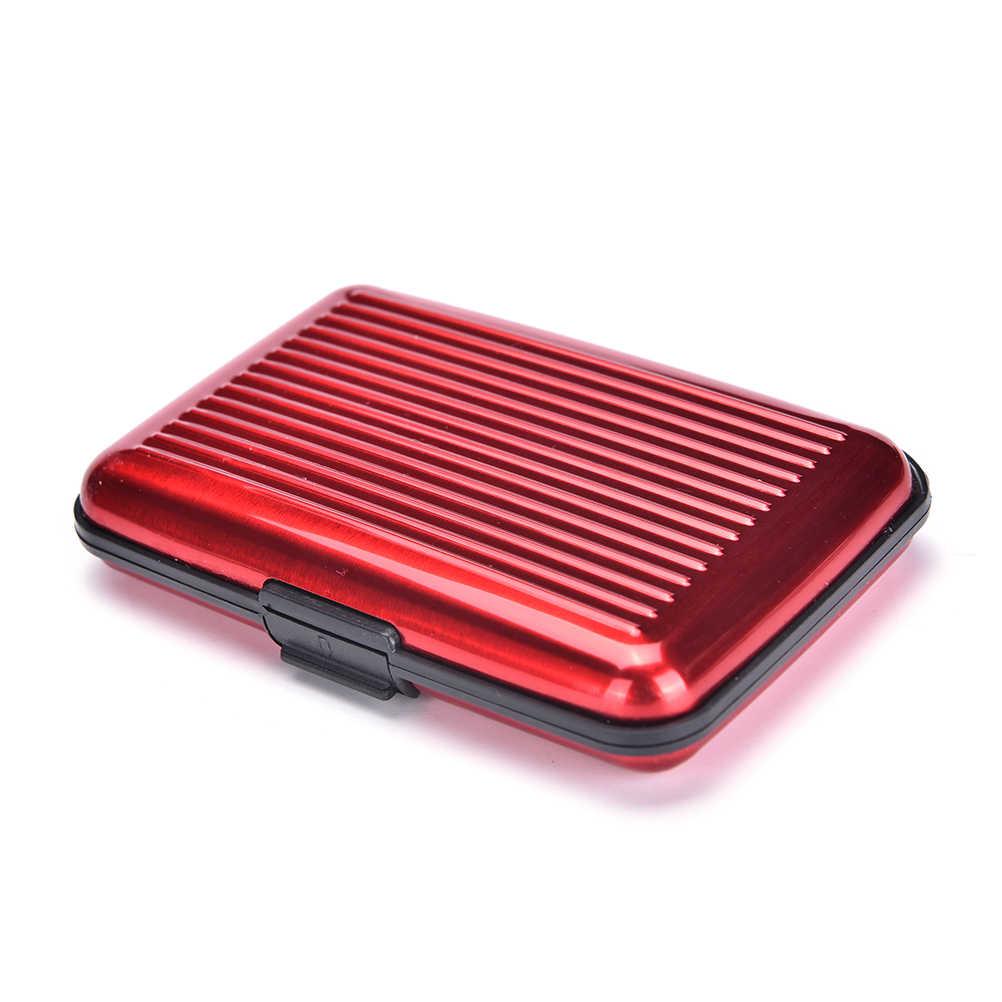 Aluminium affaires hommes femmes imperméable à l'eau carte de crédit porte-carte étui en métal brillant boîte offre spéciale 8 couleur voyage carte portefeuille