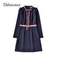 Dabuwawa Dark Blue Autumn Long Sleeve Knitting Bow Dress A Line Elegant Vintage Ruffle Dress