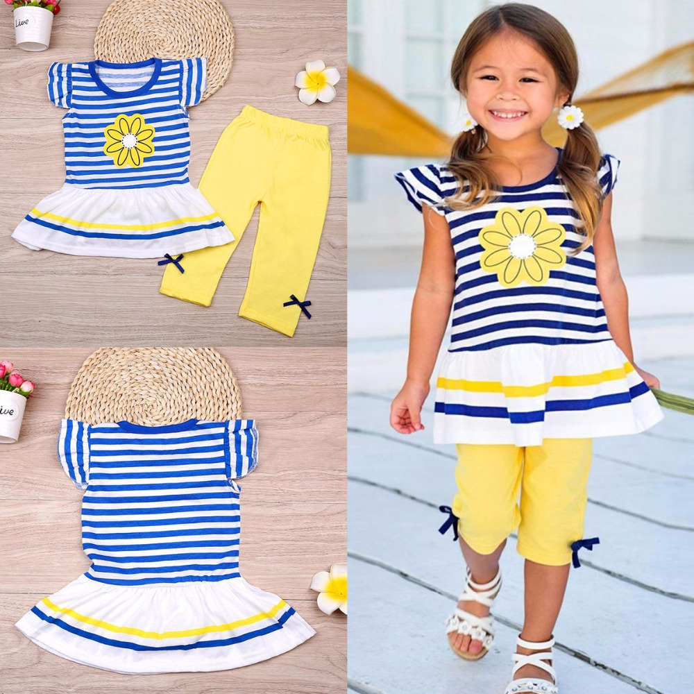 Puseky 2Pcs Children Baby Girls Kids Clothes Sets Flower T-Shirt Tops + Shorts Pants Striped Outfits Summer Clothes 2017 6M-7Y 2pcs kids baby girls summer outfits lace tops floral shorts pants clothes sets children kid girl cute clothing