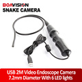 7.2mm Endoscope Borescope Snake Inspection 6 LEDS Night Vision Waterprof USB Snake Cam/Endoscope Camera