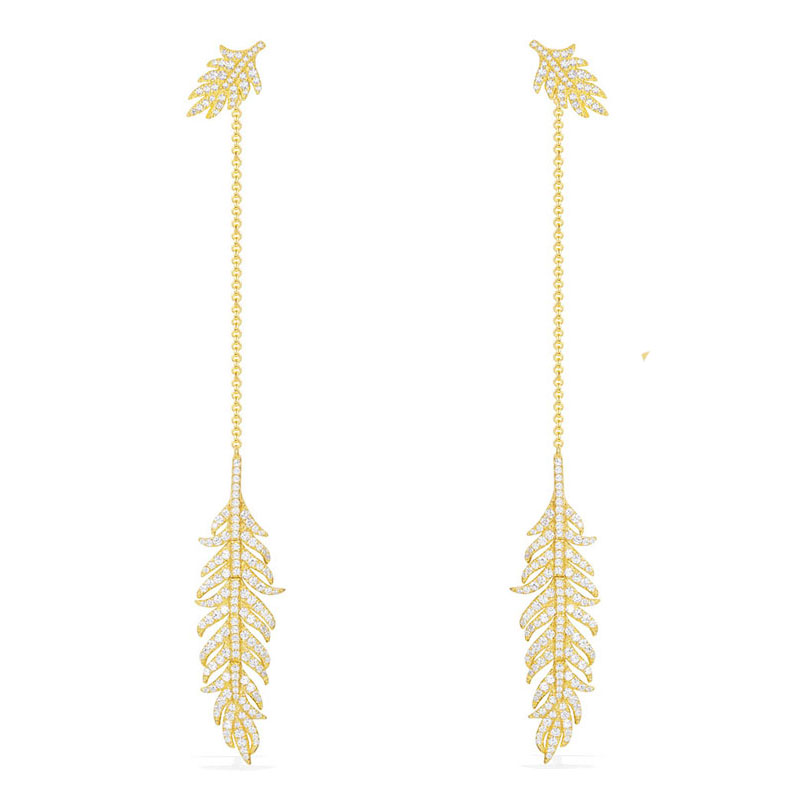 SLJELY Luxury Women 925 Sterling Silver Jewelry Yellow Gold Color Leaf Feather Long Earrings Micro Pave