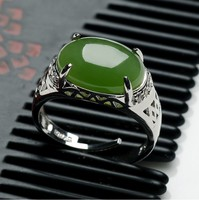 And Tian Biyu RING 925 silver inlay spinach green yu egg noodles Mens Genuine Silver Ring Ring Retractable/