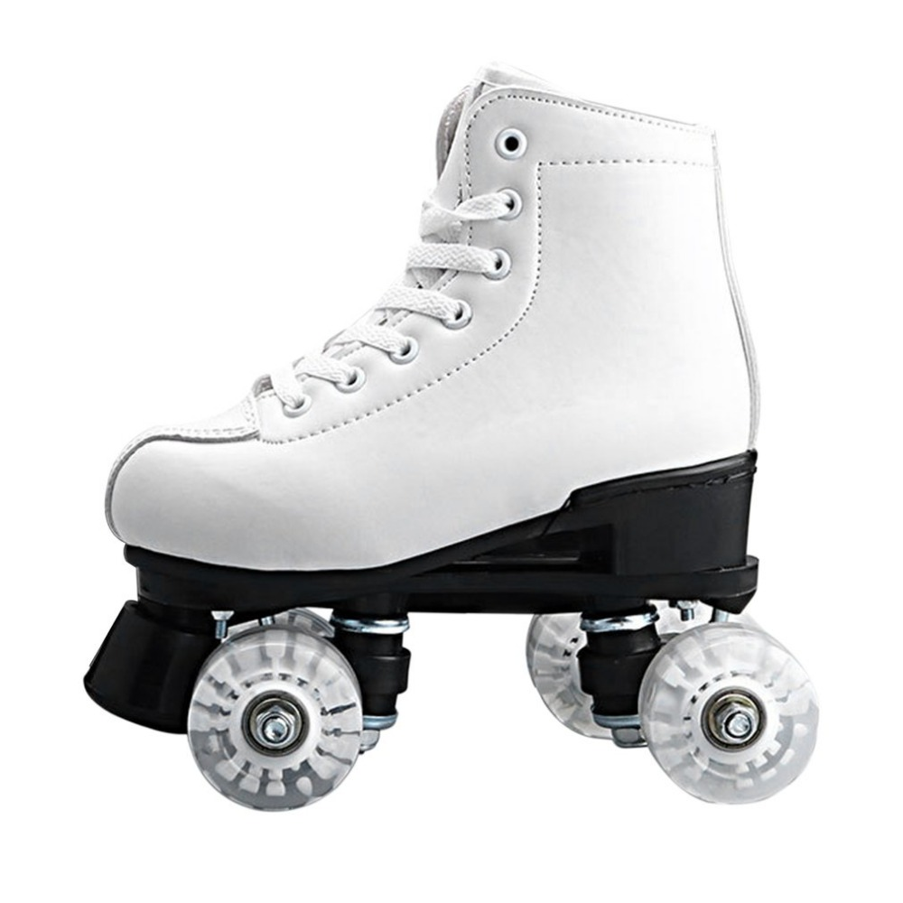 Basecamp Double Roller Skating Quad Two Line Roller Skate 4 Wheels Lace-up Skate Shoes with Colorful LED Light Free Shiping roller skates yellow genuine leather with led lighting wheels double line skates adult 4 wheels two line roller skating shoes