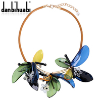 Danbihuabi New Summer Colorful Women Brand Maxi Statement Necklaces Pendants Fashion Vacation Acrylic Flowers Jewelry Necklace