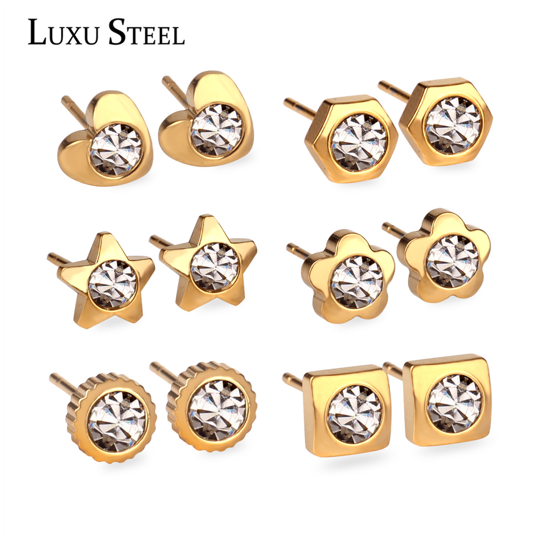 LUXUSTEEL 6 Pairs/Box Various Shapes Stainless Steel Earrings Set Cubic Zirconia Stud Earring Nickel-free Gold/ Silver Brincos