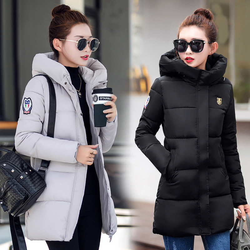 2017 Winter New Hot Fashion Female Cotton-padded Loose Hooded Long Parkas Coats Women Thick Warm Long Sleeve Zipper Jackets winter jacket women 2017 new female 5 color slim cotton padded jackets fashion short hooded zipper parkas coats a1013b 16601