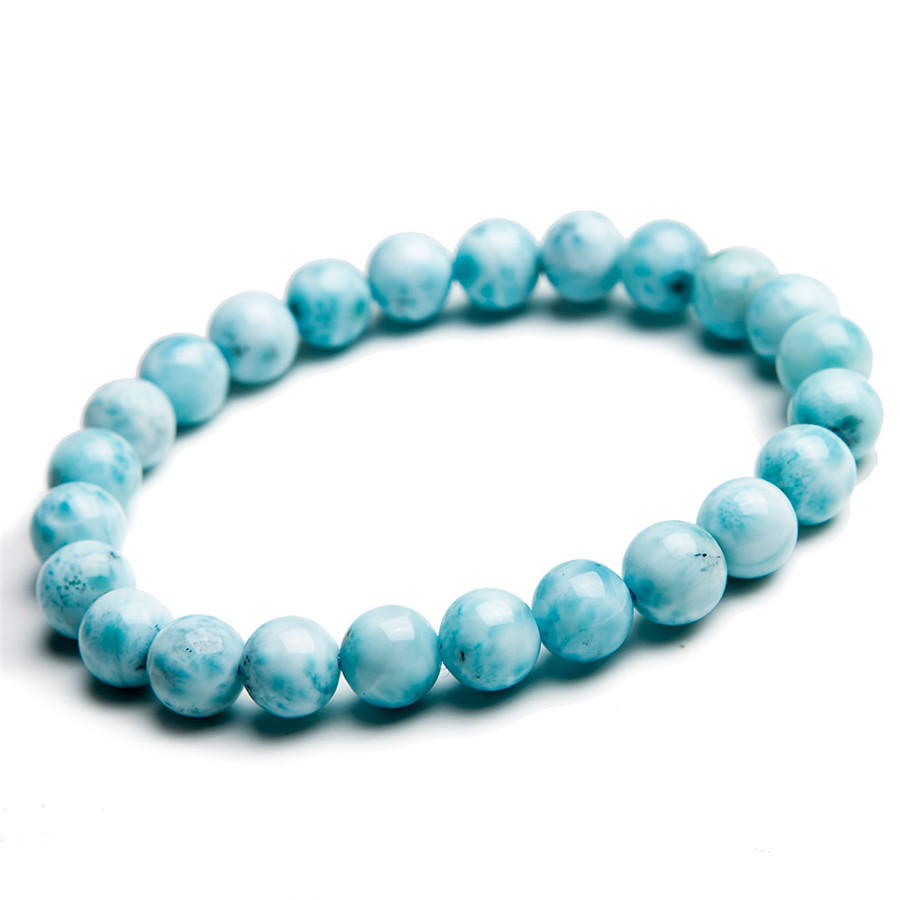 7mm Genuine Blue Larimar Natural Stone Bracelets For Women Femme Charm Crystal Round Bead Stretch Bracelet genuine green seraphinite natural stone crystal round beads 14mm women mens stretch bracelets