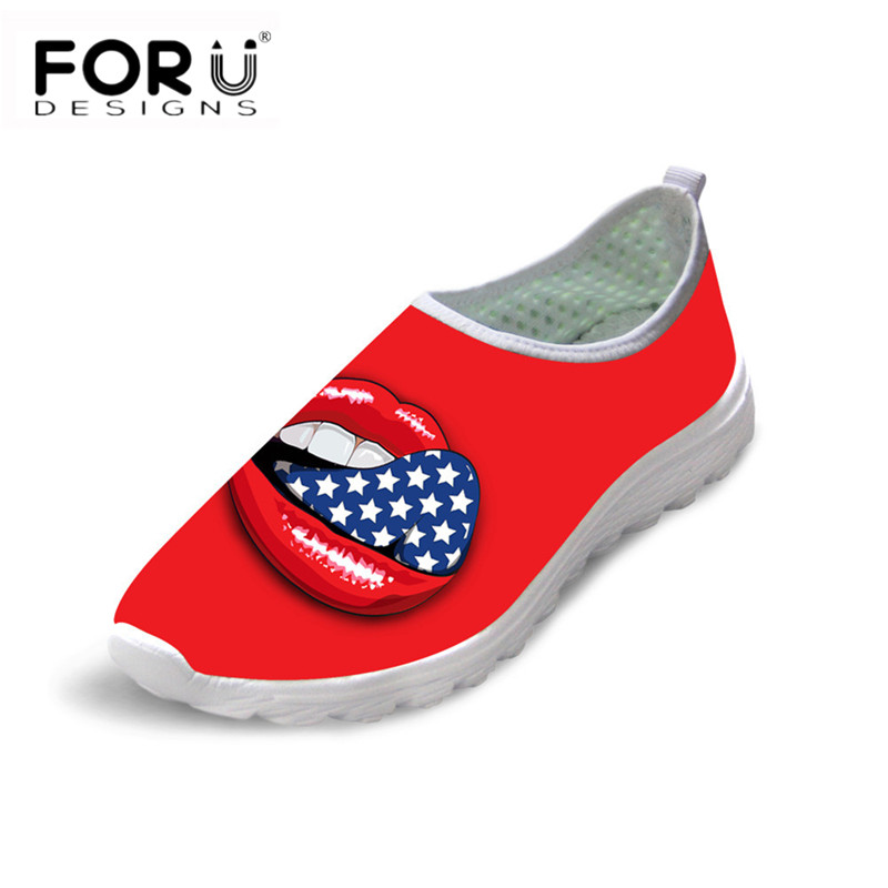 FORUDESIGNS Red Lips 3D Printed Women Light Mesh Flats Shoes Ladies Comfortable Summer Walking Sneakers Teen Girls Beach Loafers forudesigns cartoon shark print women flats shoes sneakers casual women s summer mesh shoes beach girls loafers slip on zapatos