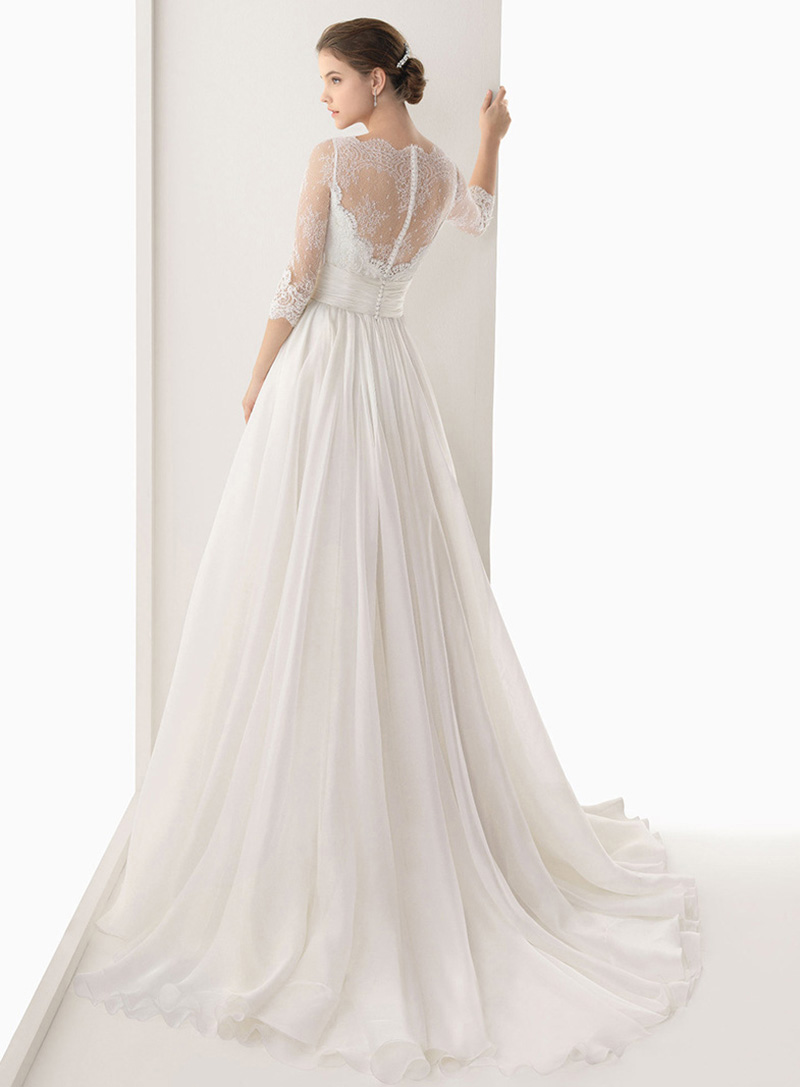 Court Retro Vintage White Floor Length Long Wedding Dress Brides ...