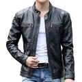 Diseño de la Chaqueta de cuero del collar del soporte de los hombres Capa de Los Hombres ocasionales de la motocicleta chaqueta de cuero Para Hombre veste en cuir chaquetas Cazadora Abrigos