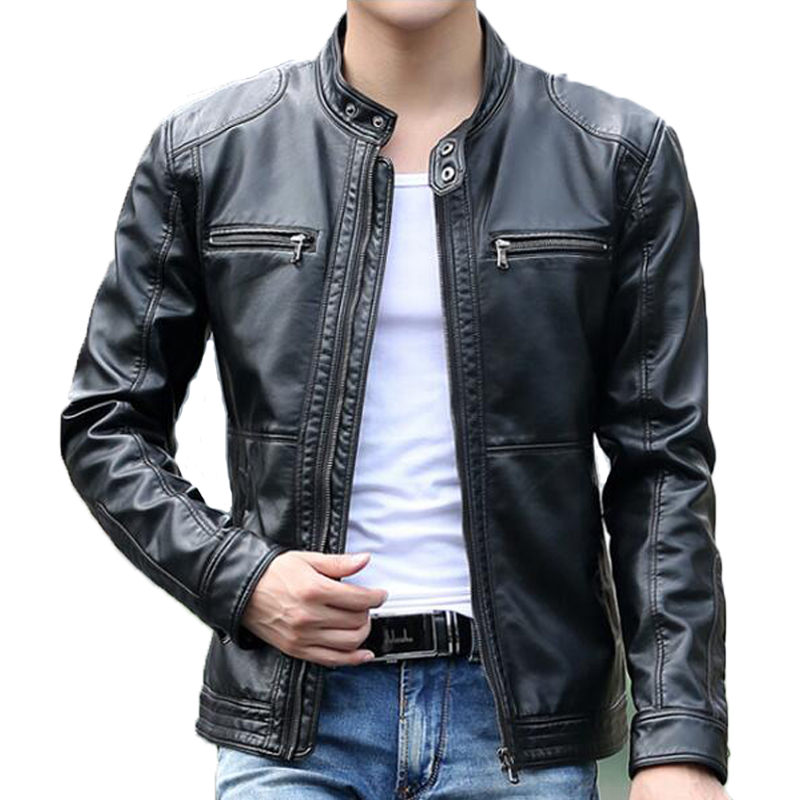 Men's leather Jacket design stand collar Coat Men casual ...