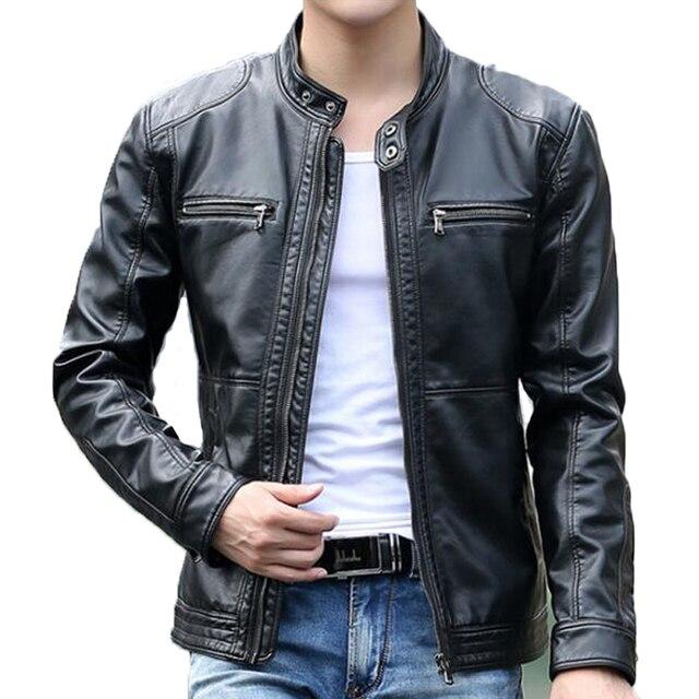aaf4fbff352 Men s leather Jacket design stand collar Coat Men casual motorcycle leather  coat Mens Sheepskin jackets Windbreaker