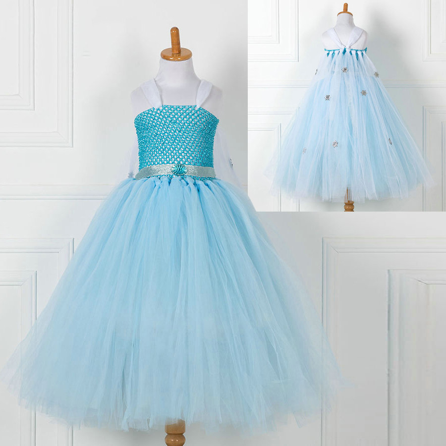 2018 Baby Girl Blue Mesh Strap Halloween Elsa Princess Costumes for ...