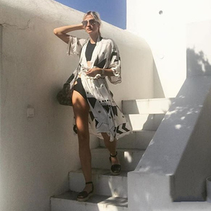 Image 3 - Swimsuit Cover Up 2020 Women Pareo Beach Dress Wears Print Loose Long Dress Beach Cardigan Bathing Suit Beach Cover Ups