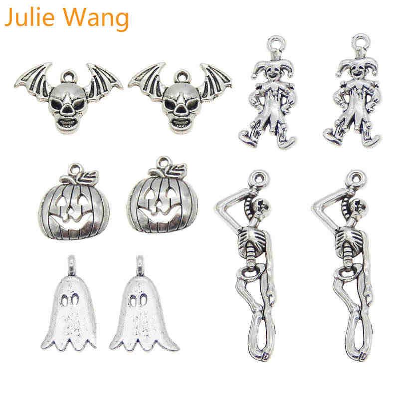 Julie Wang 5 sztuk mieszane Halloween czaszka z dyni duch Clown antyczne srebro wisiorek do naszyjnika wisiorek biżuteria dokonywanie akcesoria