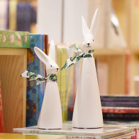 New Arrivals Modern Ceramic Rabbit Handmade Crafts Figurines Creative Home Decoration Ornaments Lovely White Couple Statues