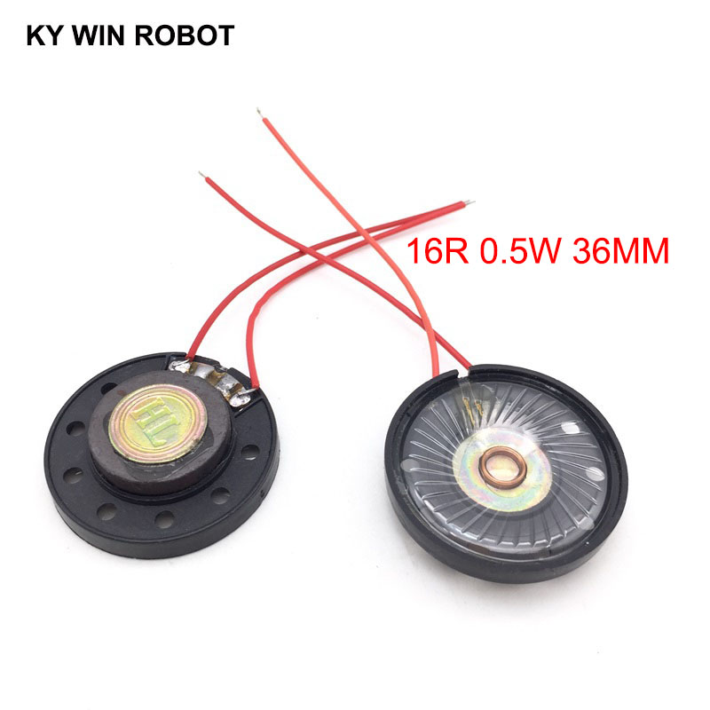 2pcs/lot New Ultra-thin Toy-car Horn 16 Ohms 0.5 Watt 0.5W 16R Speaker Diameter 36MM 3.6CM With Wire