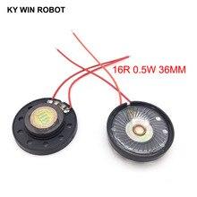 2pcs/lot New Ultra-thin Toy-car horn 16 ohms 0.5 watt 0.5W 16R speaker Diameter 36MM 3.6CM With Wire