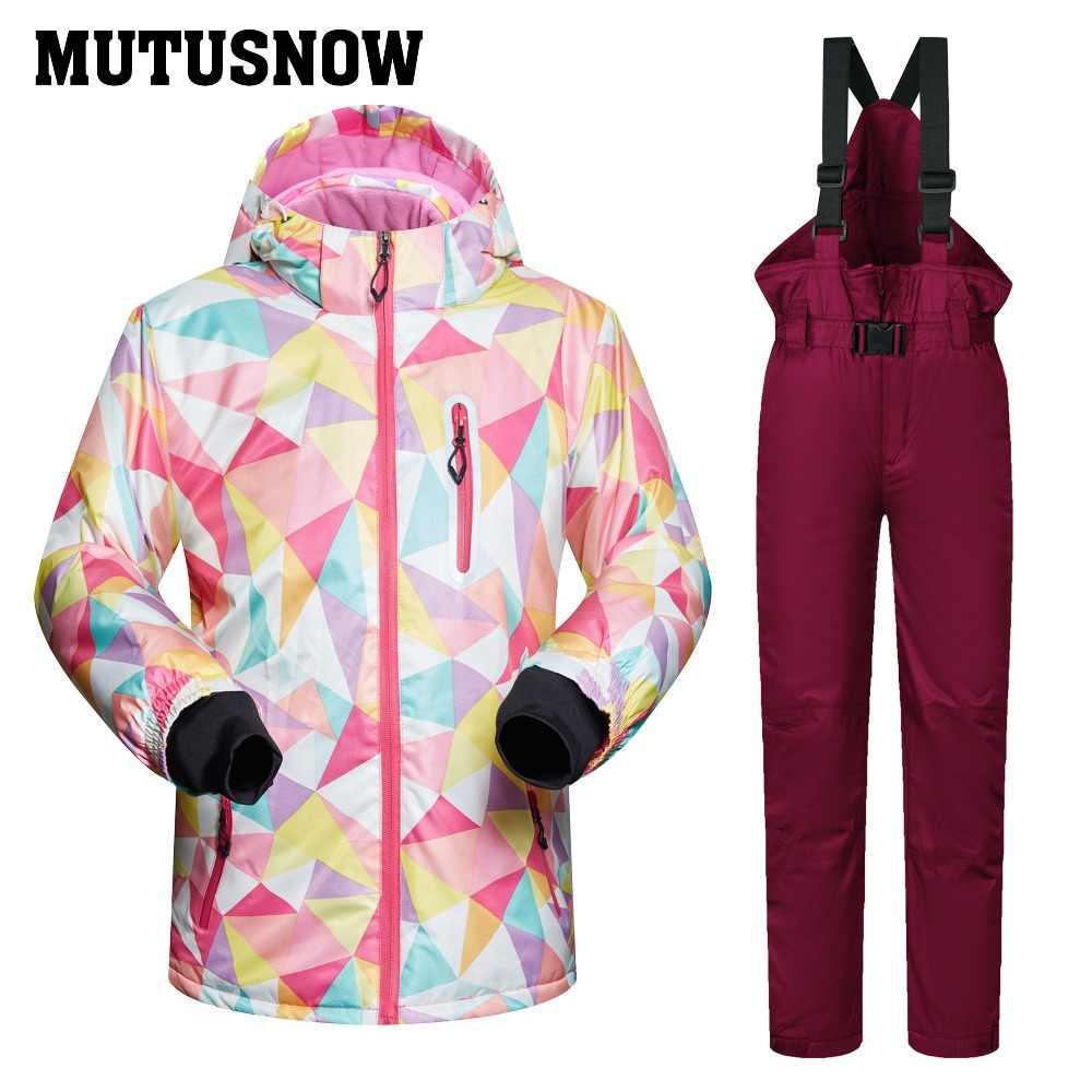 Лыжный костюм детский бренд 2018 г. Высокое качество Лыжная одежда ветрозащитные водонепроницаемые штаны для девочек и мальчиков Теплый детский зимний костюм для сноуборда