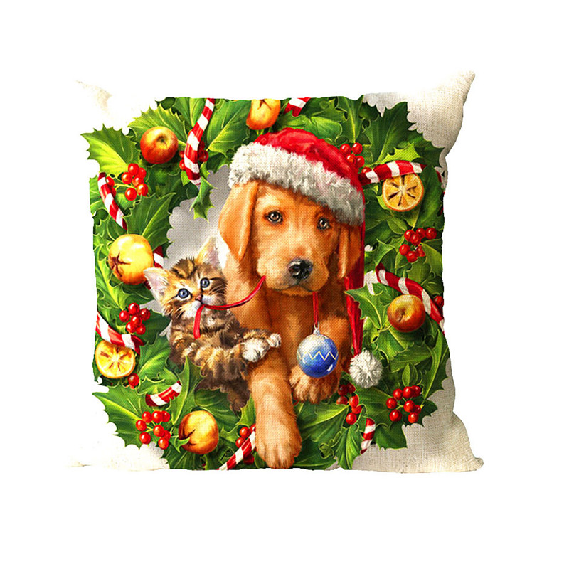 Cushion Cover Printed Christmas Pillow Covers Sofa Cushion Cover Almofada Decorativa Vid ...