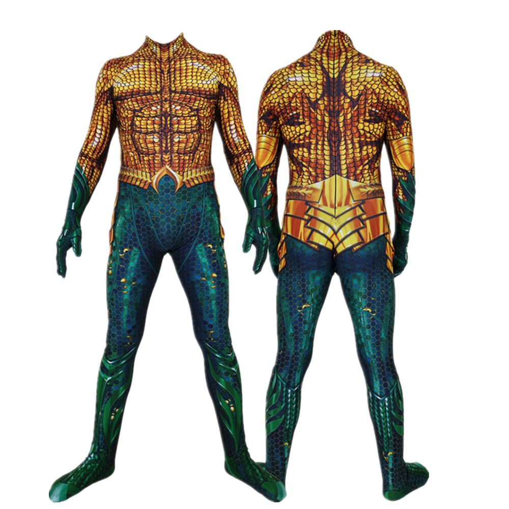 Movie Aquaman Cosplay Costume Superhero Arthur Curry Orin Zentai Bodysuit Suit Jumpsuits For Adult Kid