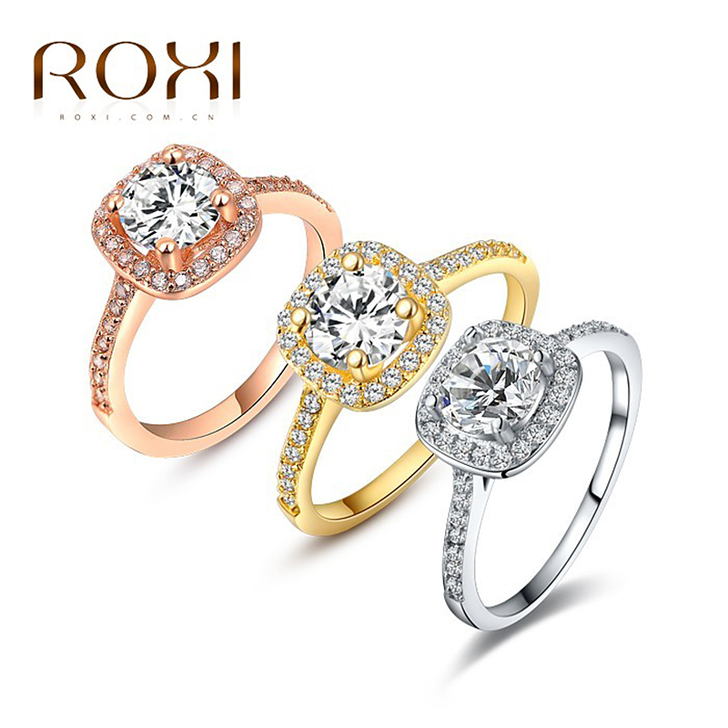 2018 ROXI Brand Anillos Rings Jewell Fashion for Women for White Rose Rose Color Ngjyra Zirkonia Rhinestone Rings Rings Dasma