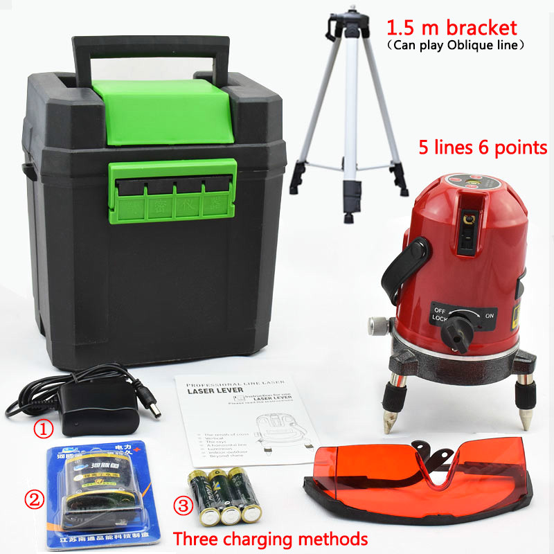 5 Lines 6 Points Laser Level with 150cm Tripod Slash Adaptor Red Beam Line Self-Leveling 360 degree 635nm Rotary laser Level 130mw 635nm red laser with case