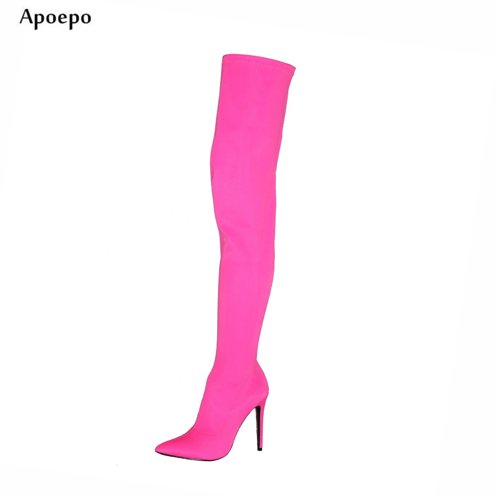 Apoepo Hot Selling Over the Knee boots Pointed toe high heel boots for woman 2018 Newest Stretch Fabric Thigh High Boots hot for the holidays