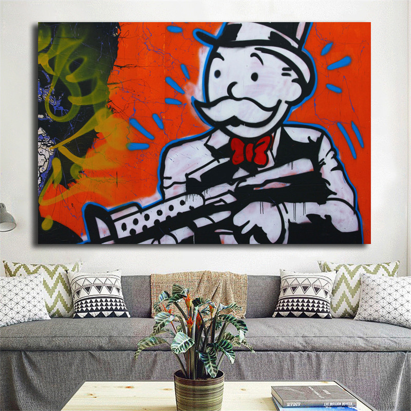 Alec Monopoly HD Print Oil Painting Decor Art on Canvas Starry Night Unframed