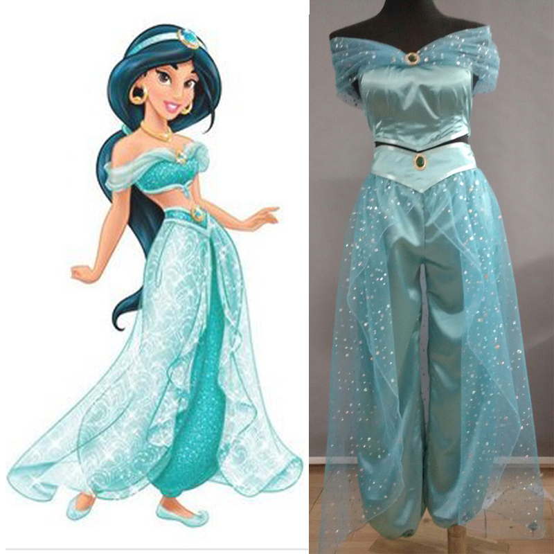 Aladdin Jasmine Princess <font><b>cosplay</b></font> costume Adult <font><b>Halloween</b></font> Costumes for women party <font><b>sexy</b></font> Jasmine dress image