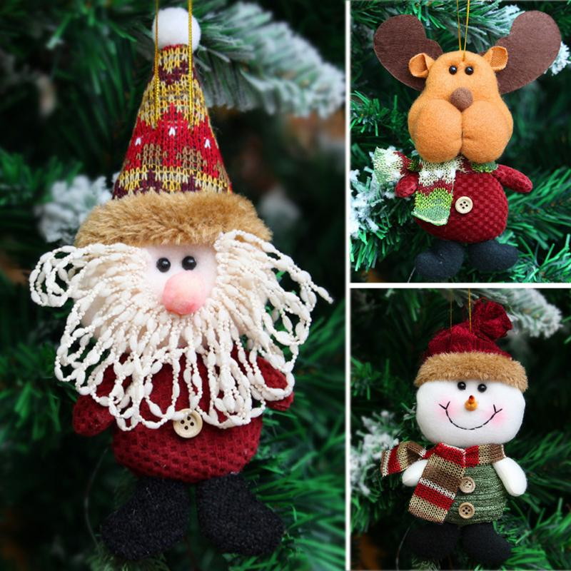 2018 Hot Sale Santa Claus Snow Man Reindeer Doll Christmas Decoration Xmas Tree Hanging Ornaments Pendant Kids Best Gift